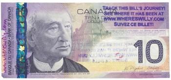 billet de dix dollars avec cachet de suivi