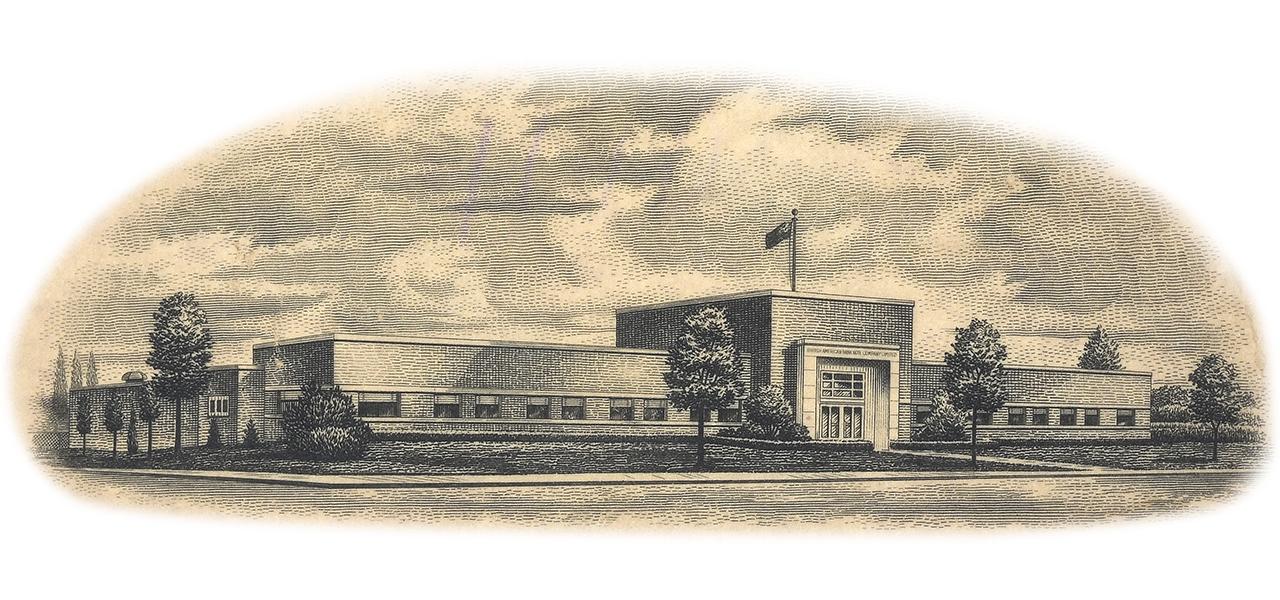 gravure imprimée de l'immeuble de la British American Bank Note Company
