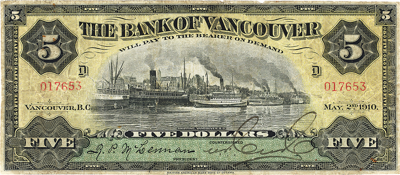 billet de 5 dollars de la Bank of Vancouver