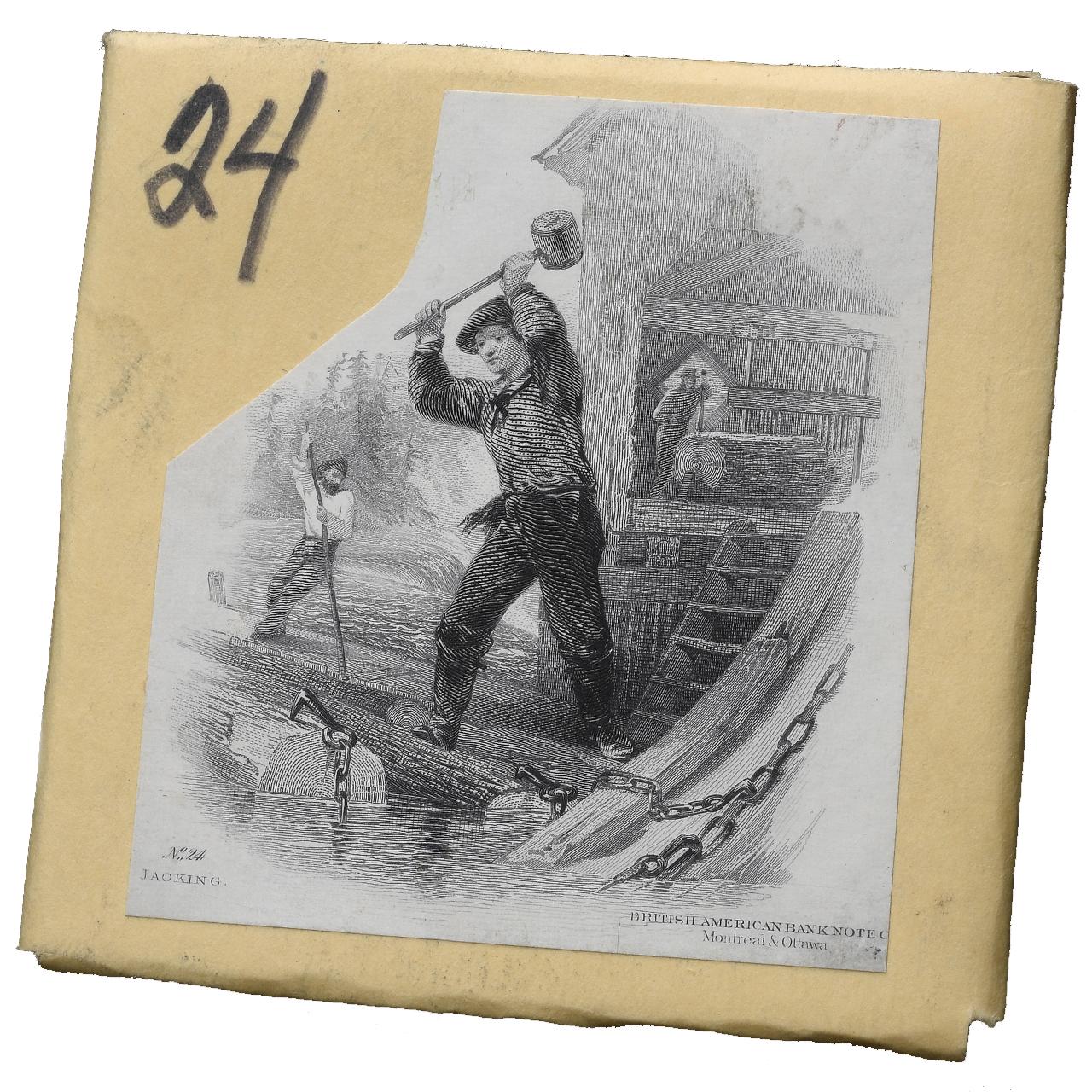 enveloppe sur laquelle figure une image imprimée d'un coin gravé