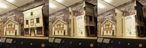 maquette d'un bâtiment dont la devanture s'ouvre comme des portes