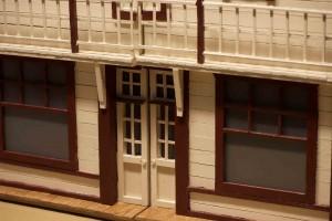 détail du balcon d'une maquette de bâtiment