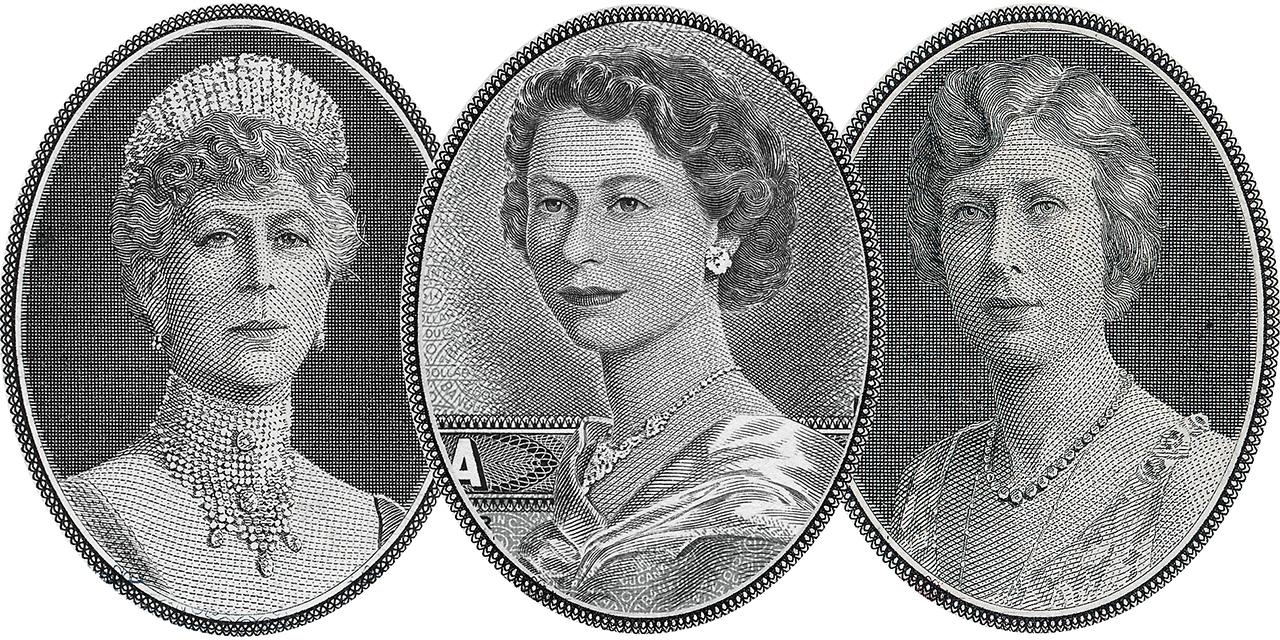 portraits de trois femmes tirées de billets de banque