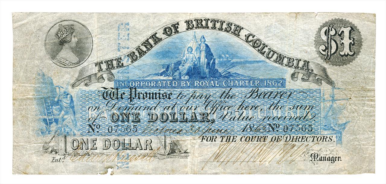 billet de 1 dollar de la Bank of British Columbia