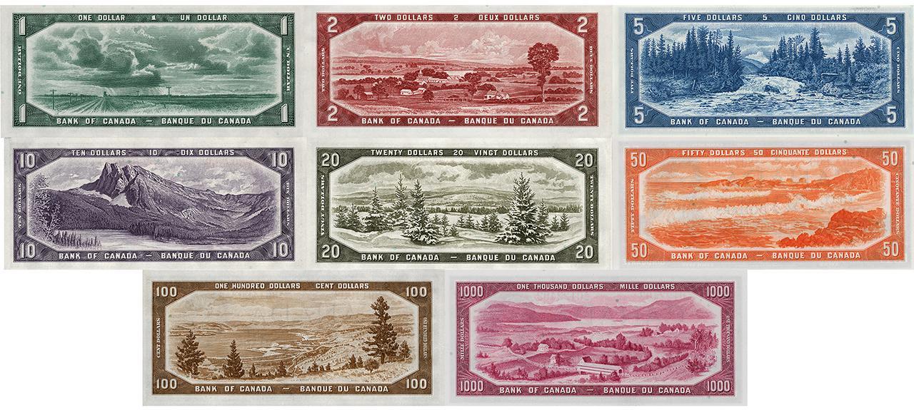 ensemble de billets de banque anciens illustrés de paysages