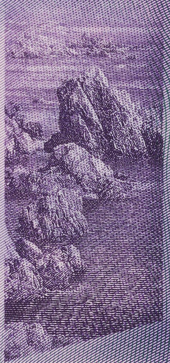 image d'un billet de banque : rochers et océan