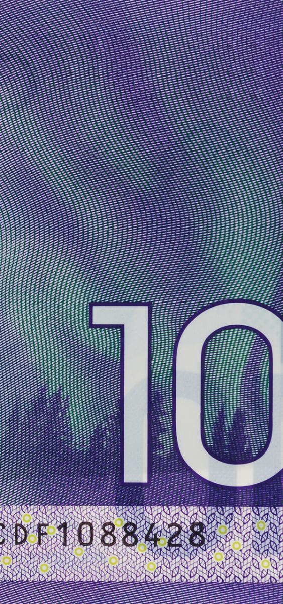 image d'un billet de banque : aurores boréales
