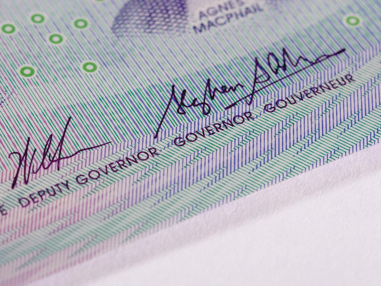 image d'un billet de banque : motif en dents de scie