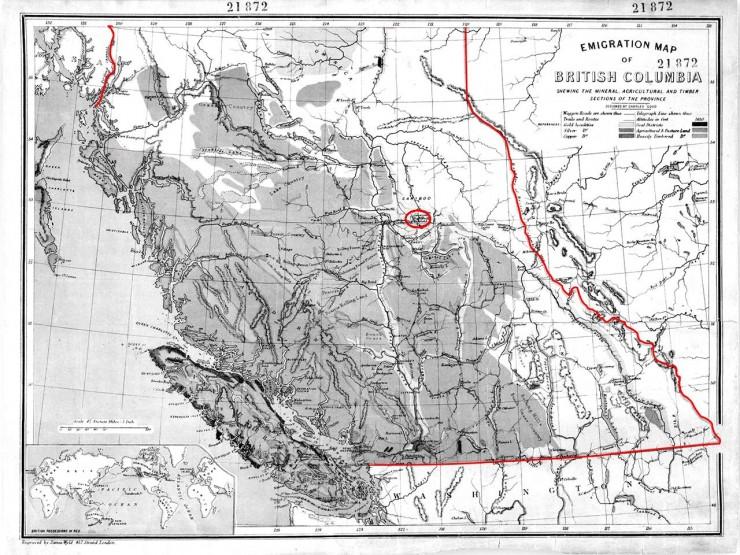 carte de la Colombie-Britannique montrant Barkerville
