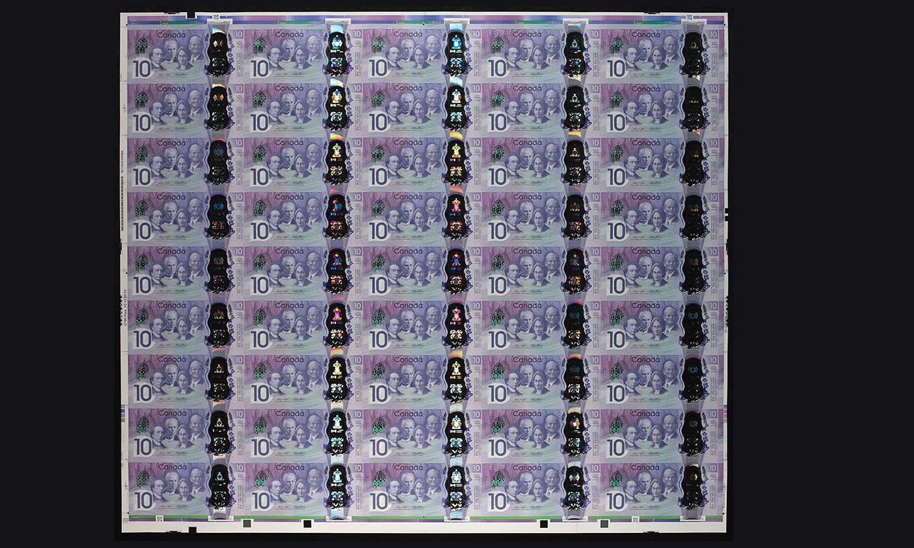 feuilles imprimées de billets Canada 150