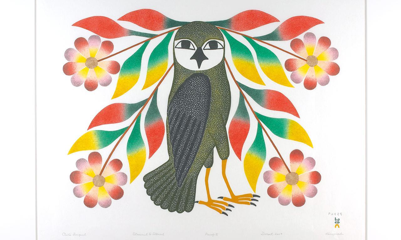 impression de style inuit d'un hibou et de fleurs