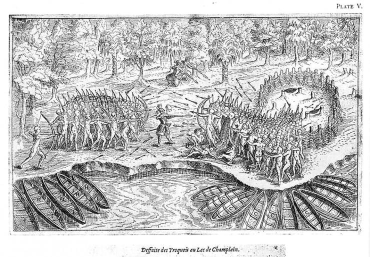 dessin d'une bataille entre tribus autochtones