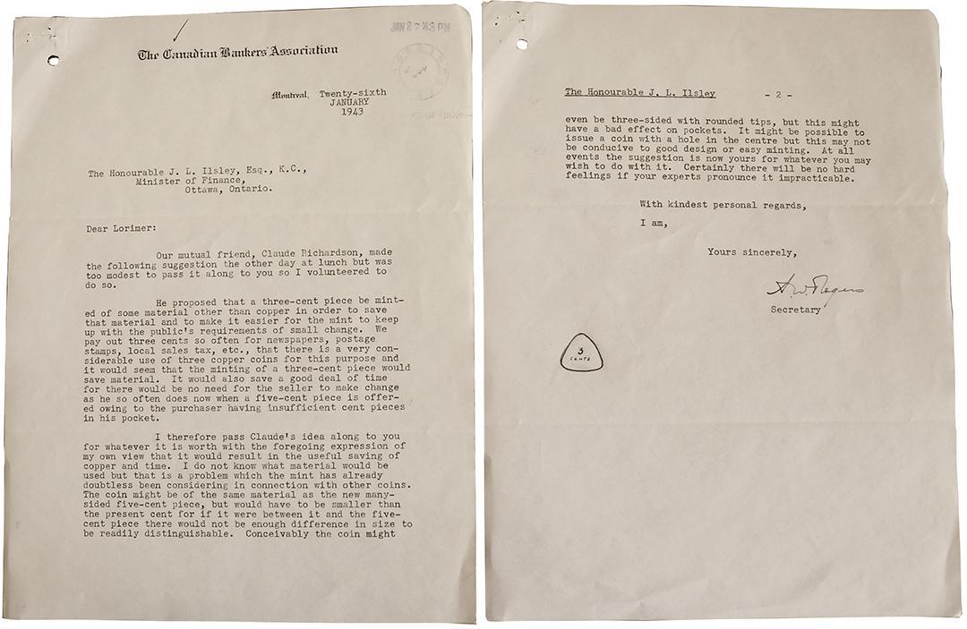 lettre proposant une pièce de 3 cents