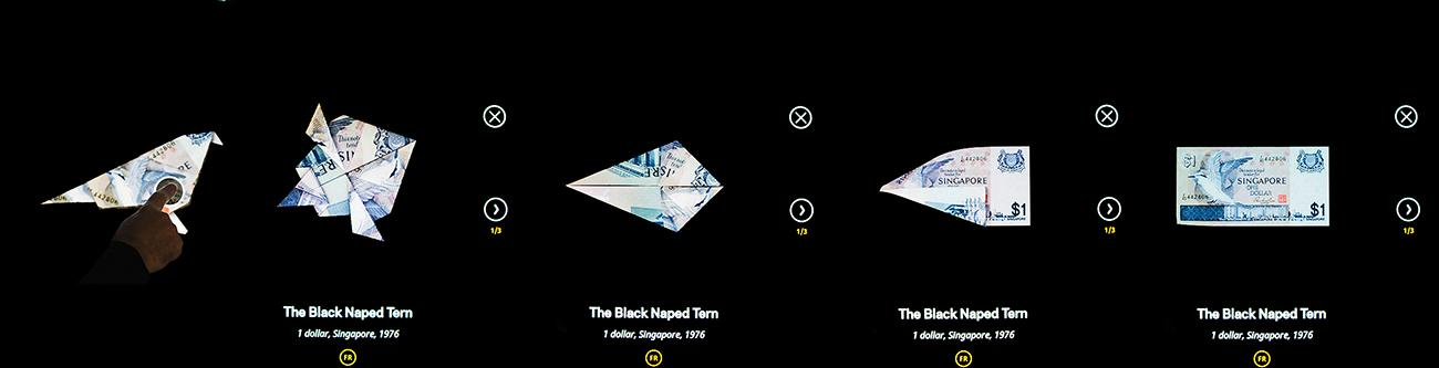 déploiement d'un animal en origami – étape par étape – affiché sur un écran