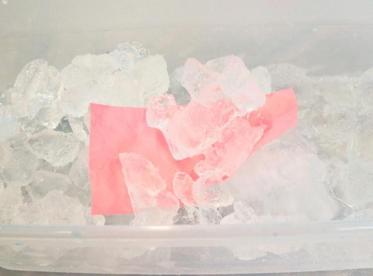 matériau polymère plongé dans de la glace