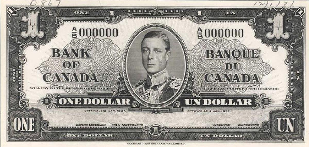 billet de 1 $ à l'effigie d'Édouard VIII
