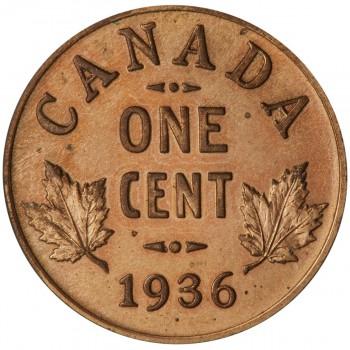 pièce de monnaie canadienne de 1936 frappée avec un point