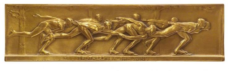 bas-relief représentant des patineurs de vitesse