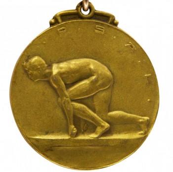 médaille représentant un coureur
