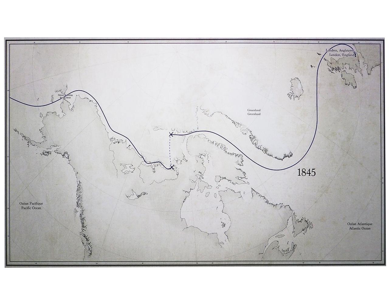 carte, exploration de l'Arctique canadien, itinéraires
