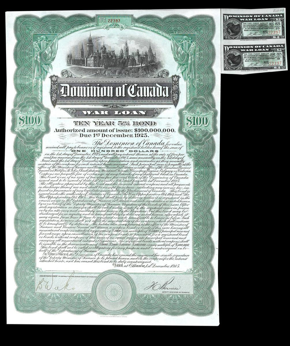 certificat d'obligation de 100 $ proposé aux citoyens lors de la Première Guerre mondiale, 1915