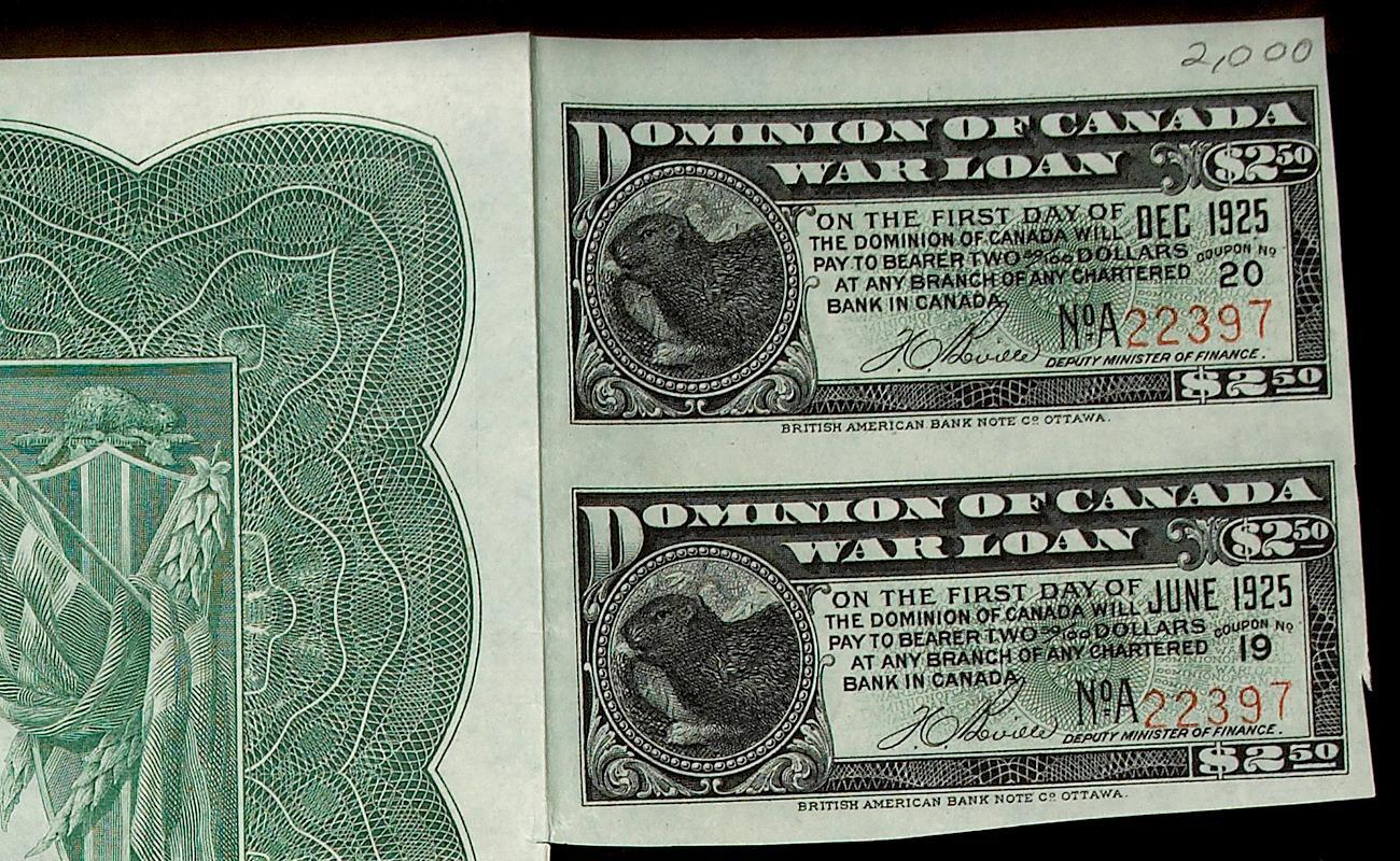 coupon attaché à une obligation de guerre de 100 $