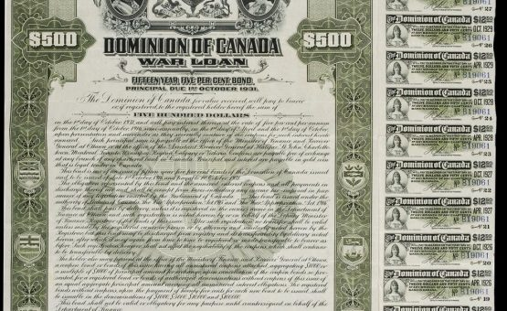 Fcertificat d'obligation de 500 $ proposé aux citoyens lors de la Première Guerre mondiale, 1916