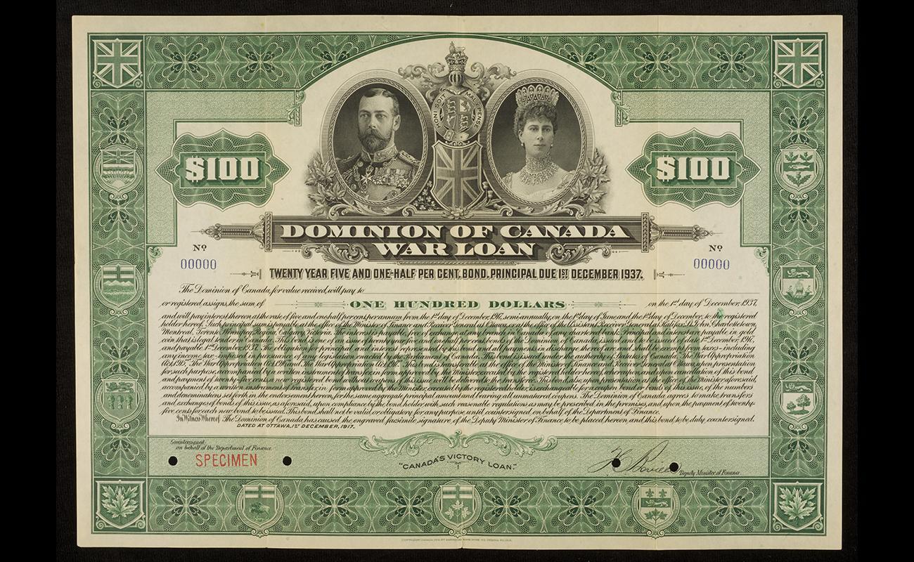 certificat d'obligation de 100 $ proposé aux citoyens lors de la Première Guerre mondiale, 1917