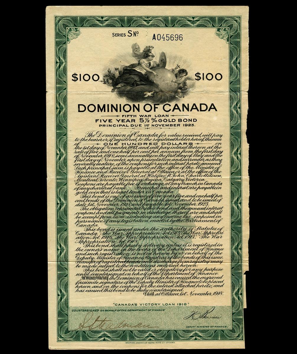 certificat d'obligation de 100 $ proposé aux citoyens lors de la Première Guerre mondiale, 1918