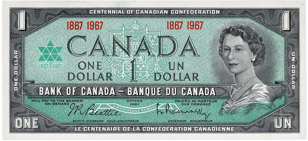 billet de 1 $ commémorant le centenaire du Canada et inspiré de la série de 1954
