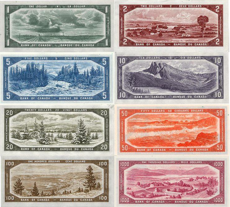 tableau coloré composé de huit billets de banque, chacun orné d'une image illustrant une région du Canada