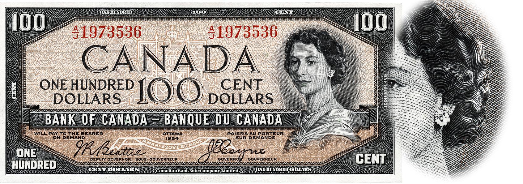 un billet canadien de 100 $ de 1955 ainsi qu'un agrandissement de la face de diable dans la chevelure de la reine