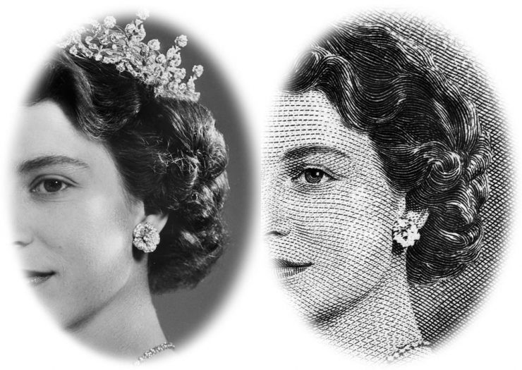 une gravure de la reine et la photographie qui servit de modèle