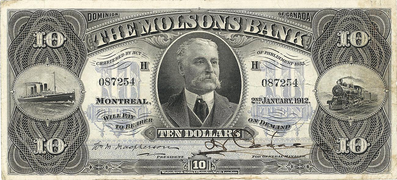 billet de 10 $ de la Banque Molson
