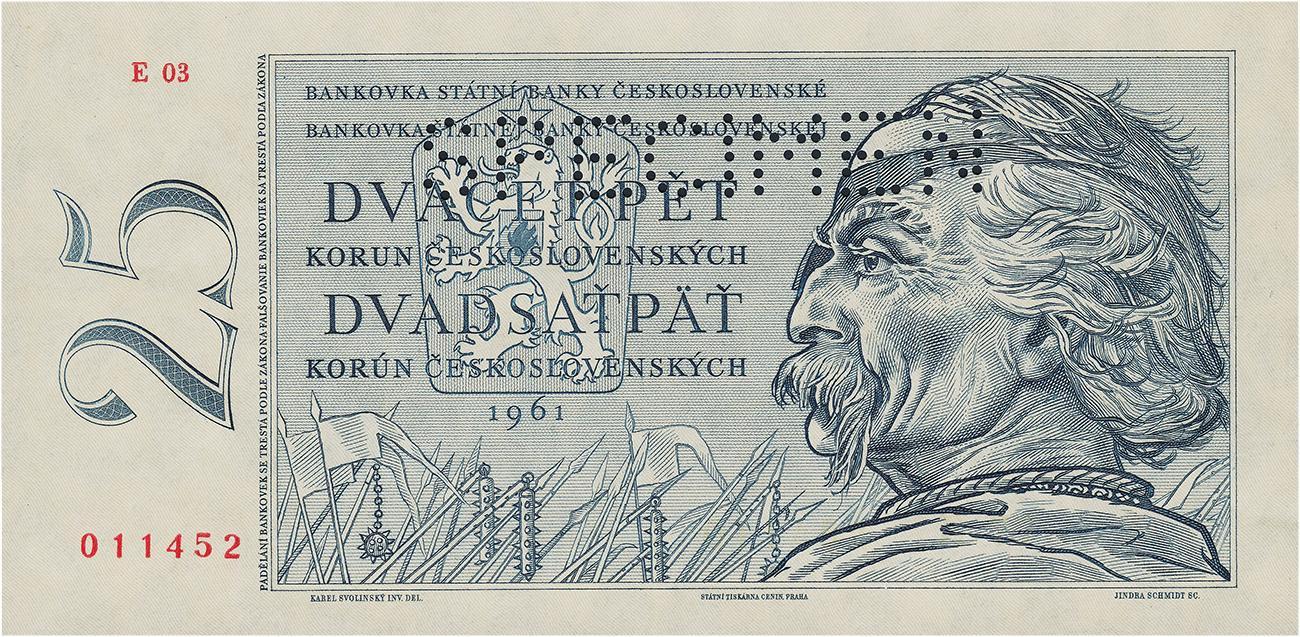 billet de banque tchèque représentant le guerrier Jan Žižka portant son cache-œil