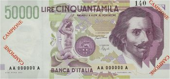 billet de banque italien à l'effigie de Gian Lorenzo Bernini