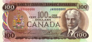 billet de banque canadien de 100 $ à l'effigie de sir Robert Borden, 1976