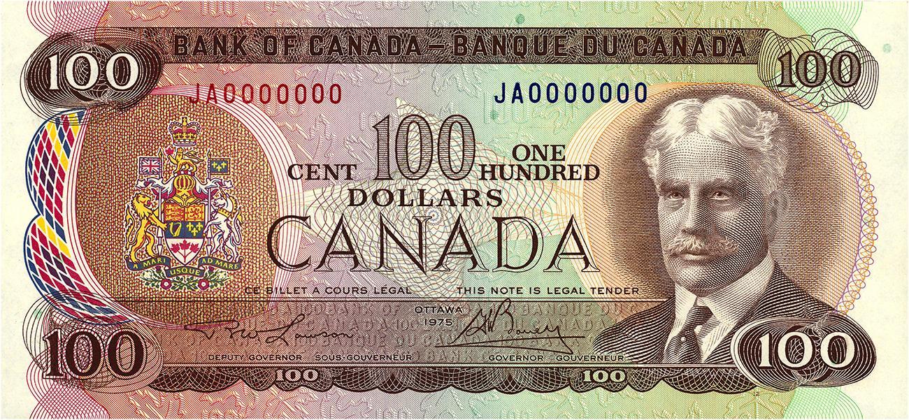 billet de banque canadien de 100 $ à l'effigie de sir Robert Borden, 1976