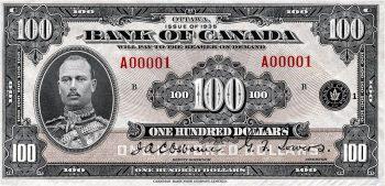 billet de banque canadien de 100 $ à l'effigie du prince Henri, 1935