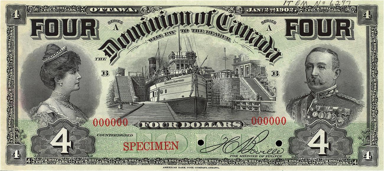 billet de 4 $ du Dominion du Canada orné de Lord et Lady Minto
