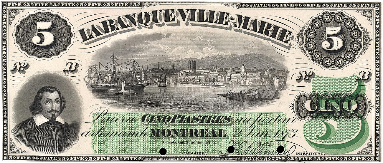 billet de la Banque Ville-Marie à l'effigie de Champlain