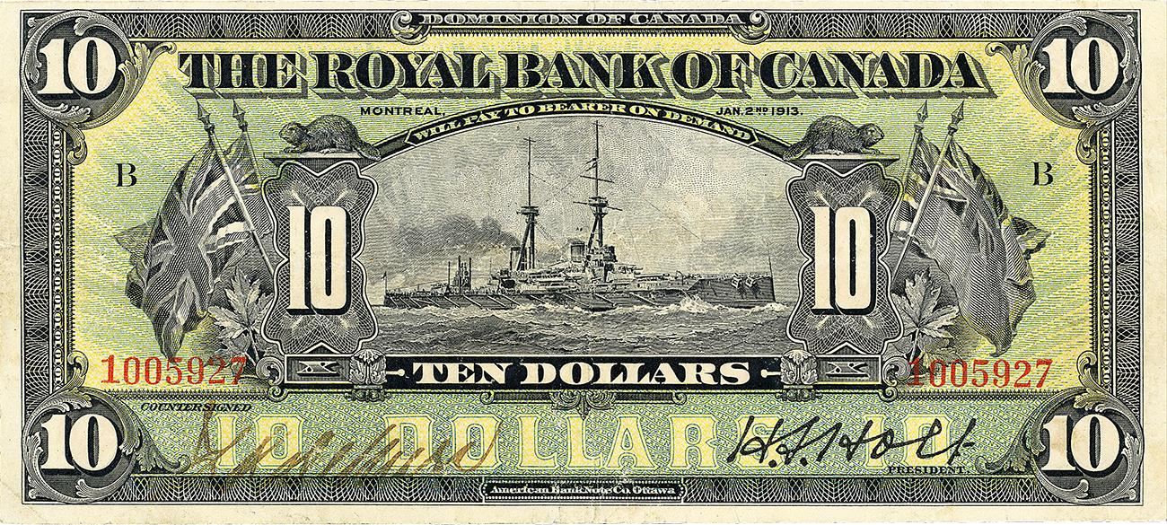 billet de 10 $ de la Banque Royale du Canada mettant en vedette un cuirassé de la Première Guerre mondiale