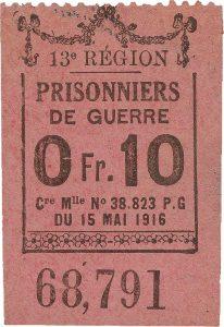 bon d'une valeur de 10 centimes provenant d'un camp de prisonniers de guerre français