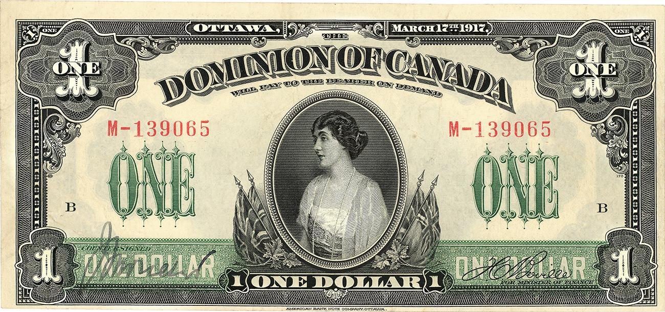 billet de 1 $ du Dominion du Canada à l'effigie de la princesse Patricia, entourée de symboles patriotiques