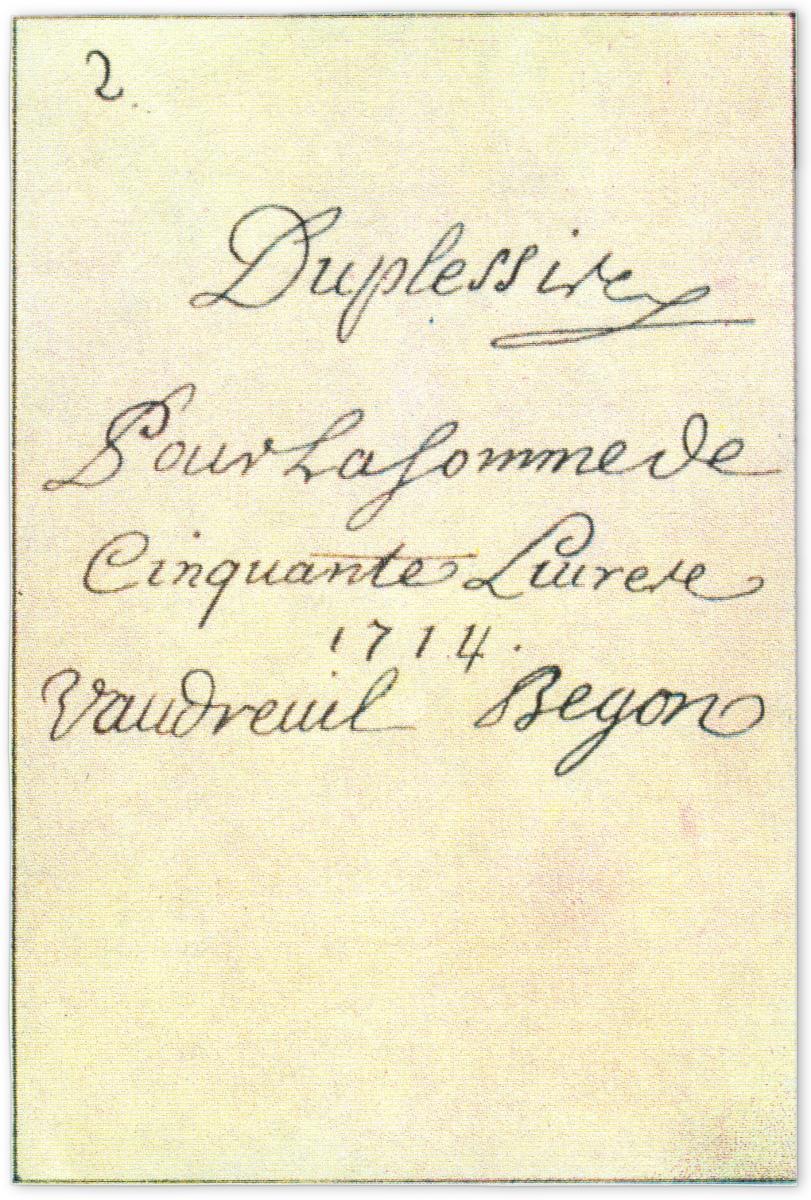 verso d'une carte à jouer du XVIIIe siècle portant les signatures des représentants officiels de la Nouvelle-France