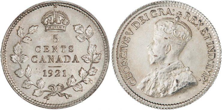pièce canadienne de 5 cents en argent datant de 1921