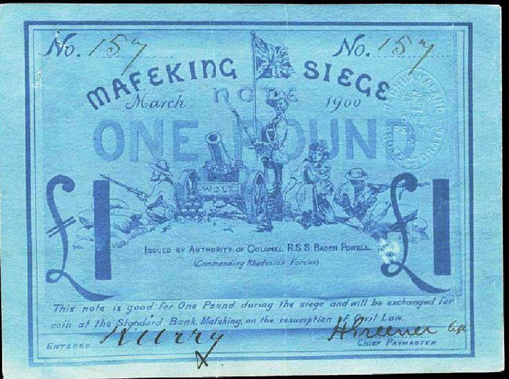 billet de une livre de couleur bleue illustrant des soldats, une femme et un canon surplombés de l'Union Jack