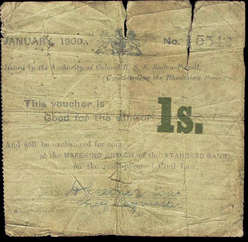 coupon de un shilling émis pendant le siège de Mafeking