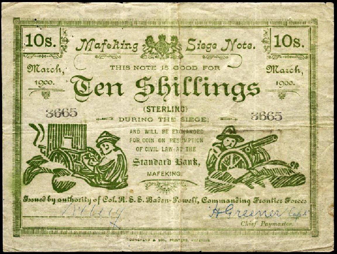 billet de dix shillings imprimé à partir d'une gravure sur bois réalisée à la main, représentant des soldats et des pièces d'artillerie de campagne