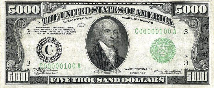 billet américain de 5 000 $